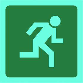 Tower Photoluminescent Sign - Man Running Right (Small)