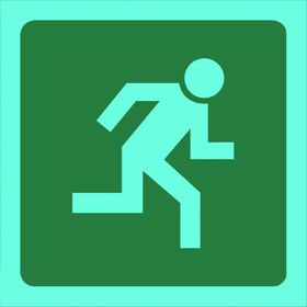 Tower Photoluminescent Sign - Man Running Right