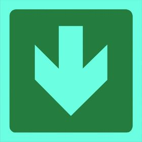 Tower Photoluminescent Sign - Green Arrow Down (Small)