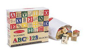 Melissa & Doug Wooden ABC-123 Blocks