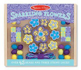 Melissa & Doug Sparkling Flowers Wooden Bead Set