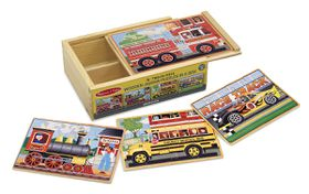 Melissa & Doug Vehicle Puzzles in a Box - 12 Piece