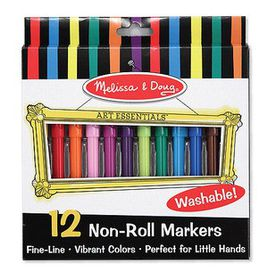 Melissa & Doug Non-Roll Fineline Markers - 12 Piece