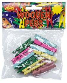 Dala Wooden Pegs Assorted Colours - Large (12 Pieces)