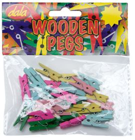 Dala Wooden Pegs Assorted Colours - Small (30 Pieces)