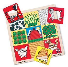 Melissa & Doug Peek-Through Puzzle - Farm - 9 Pieces