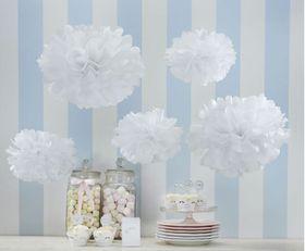 Ginger Ray - Tissue Paper Pom Pom's - White