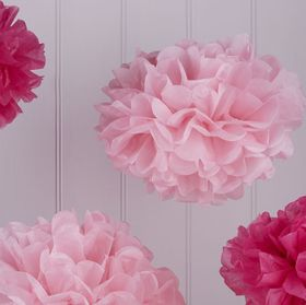 Ginger Ray - Tissue Paper Pom Poms - Hot Pink and Light Pink