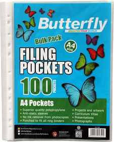 Butterfly Filing Pockets A4 100's