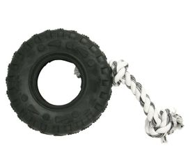 Marltons - Dog Toy Tyre On Rope - 7cm - Yellow