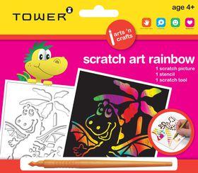 Tower Kids Scratch Art Rainbow - Dinosaur 2