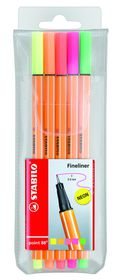 Stabilo Point 88 Fineliners - Assorted Neon Colours (Wallet of 5)