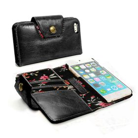 Tuff-Luv Alston Craig London Ladies Vintage Genuine Leather Purse Case Cover for Apple iPhone 6 - Black (Secret Garden)