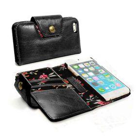 Tuff-Luv Alston Craig London Ladies Vintage Genuine Leather Purse Case Cover for Apple iPhone 6/6S Plus - Black (Secret Garden)