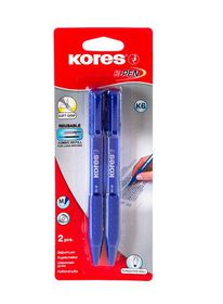 Kores K6 Triangular Retractable Ballpoint Pens - Blue (Blister of 2)