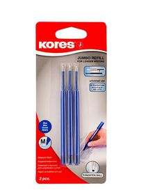 Kores Jumbo Medium Nib Ballpoint Pen Refills - Blue (Pack of 3)