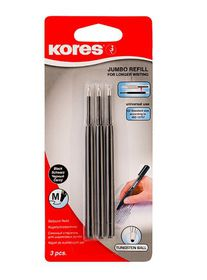 Kores Jumbo Medium Nib Ballpoint Pen Refills - Black (Pack of 3)