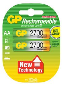 GP Batteries 1.2V AA 2700 mAh NiMH Rechargeable Batteries