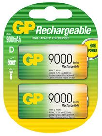 GP Batteries 1.2V D 9000 mAh NiMH Rechargeable Batteries