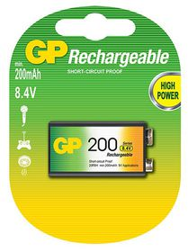 "GP Batteries 8.4 ""9V"" NiMh 200 mAh Rechargeable Battery"