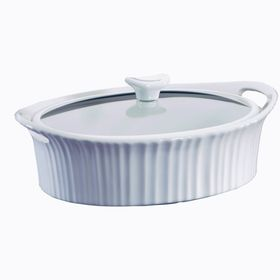 Corningware - French White III Oval Casserole With Quite Close Glass Cover - 2.35 Litre