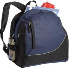 Eco Striped Front Pocket Backpack - Navy & Black