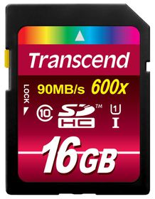 Transcend 16GB 600X Class 10 UHS-I SDHC Card