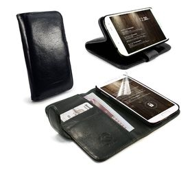 Tuff-Luv Vintage Leather Wallet Case Cover for Samsung Galaxy S6 - Black