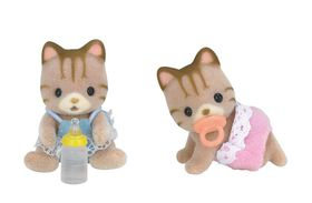 Sylvanian Family Striped Cat Twins