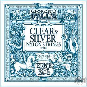 Ernie Ball 2403 Ernesto Palla Nylon Clear & Silver Classical Tie On Set