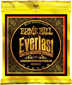 Ernie Ball 2554 Everlast Acoustic Guitar Strings 80/20 Bronze - Medium (13 - 56)