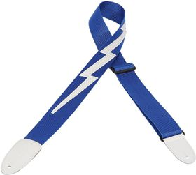 "Levy LLDM5ROY DM5 2"" Polypropylene Guitar Strap With Lightning Bolt - Royal Blue"