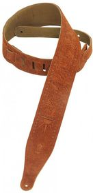 """Levy LLMS17T01CPR MS17T01 2.5"""" Suede Leather Guitar Strap Tooled with Zodiac Design - Copper"""