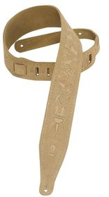 "Levy LLMS17T01SND MS17T01 2.5"" Suede Leather Guitar Strap Tooled with Zodiac Design - S&"