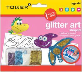 Tower Kids Glitter Art Shaped - Dinosaur