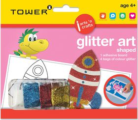 Tower Kids Glitter Art Shaped - Rocket