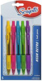 Scripto Neon Retro Retractable Ballpoint Pens - Medium (Blister of 5 Ink Colours)