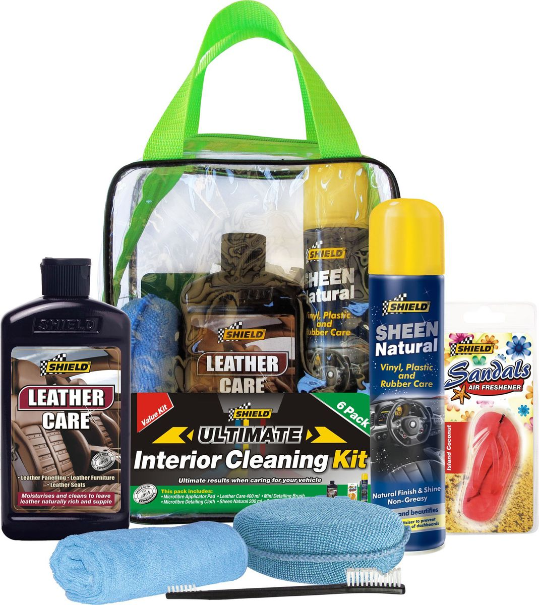 shield auto shield car interior cleaning kit buy online in south africa. Black Bedroom Furniture Sets. Home Design Ideas