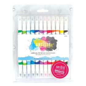 Docrafts Artiste Dual Tip Brush Markers - 12 Pack - Brights