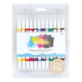 Docrafts Artiste Dual Tip Brush Markers - 12 Pack - Vintage