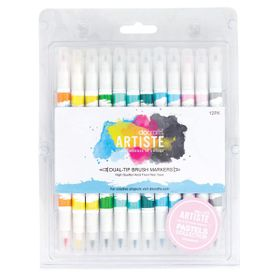 Docrafts Artiste Dual Tip Brush Markers - 12 Pack - Pastel