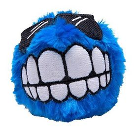 Rogz Fluffy Grinz Medium 6.5cm Dog Plush Squeak Toy - Blue