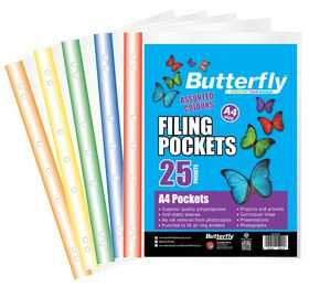Butterfly Filing Pockets A4 Mixed Colours 25's