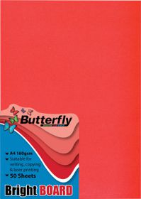 Butterfly A4 Bright Board 50s - Red