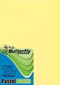 Butterfly A4 Pastel Board 50s - Yellow