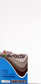 Butterfly DL Envelopes Self Seal White 20's