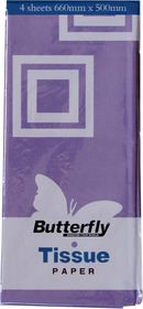 Butterfly Tissue Paper 4 Sheets - Lilac (T06)
