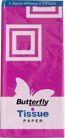 Butterfly Tissue Paper 4 Sheets - Magenta (T03)