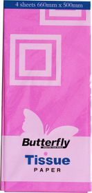 Butterfly Tissue Paper 4 Sheets - Pink (T07)