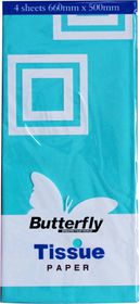 Butterfly Tissue Paper 4 Sheets - Turquoise (T15)
